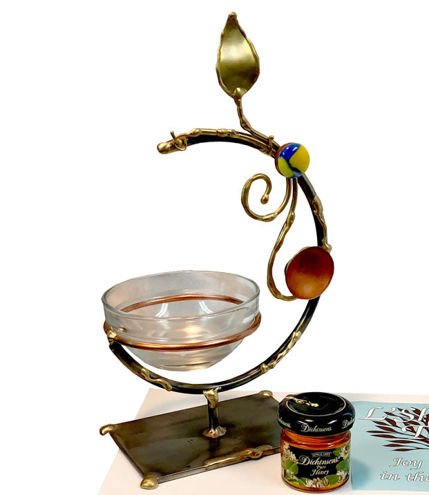 Gary Rosenthal Rosh Hashanah Set With Dish, Spoon, and Honey