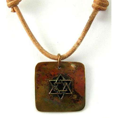Ildanach Studios Copper Small Star of David Necklace on Square with Leather Cord