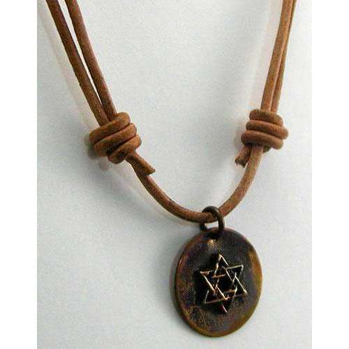Ildanach Studios Copper Star of David Pendant on Circle With Leather Cord
