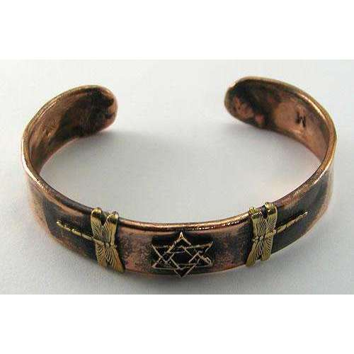 Ildanach Studios Small Dragonflies Cuff Bracelet with Star of David