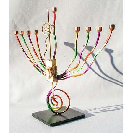 Infinity Art in Metal Colorful Swirls Menorah Dreidel
