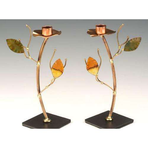 Infinity Art in Metal Green and Yellow Tree Candle Holders