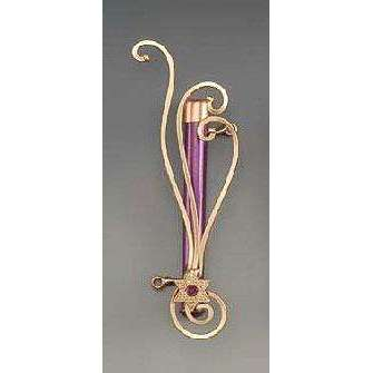 Infinity Art in Metal Purple with Copper Star of David Mezuzah