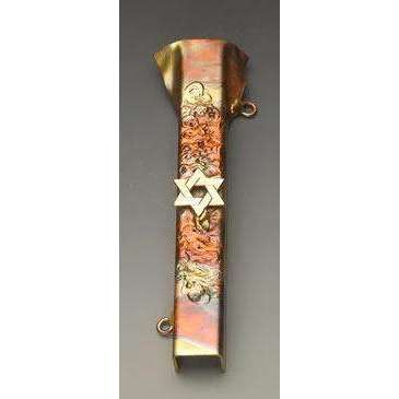 Infinity Art in Metal Star of David Mezuzah