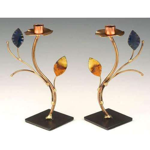 Infinity Art in Metal Tree of Life Candlesticks