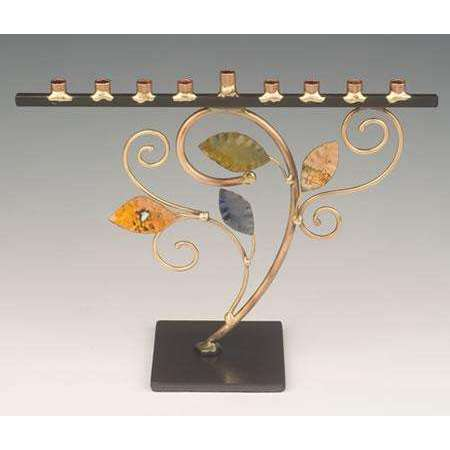 Infinity Art in Metal Tree of Life Jewish Menorah