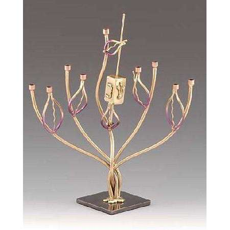 Infinity Art in Metal Tree of Life Menorah Dreidel