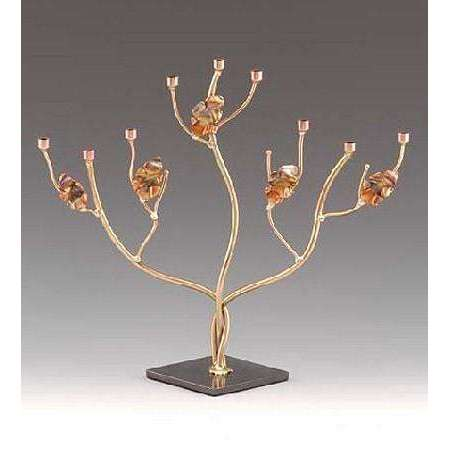 Infinity Art in Metal Tree with Three Branches Menorah
