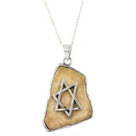 Jerusalem Stone Asymmetrical Star of David Necklace