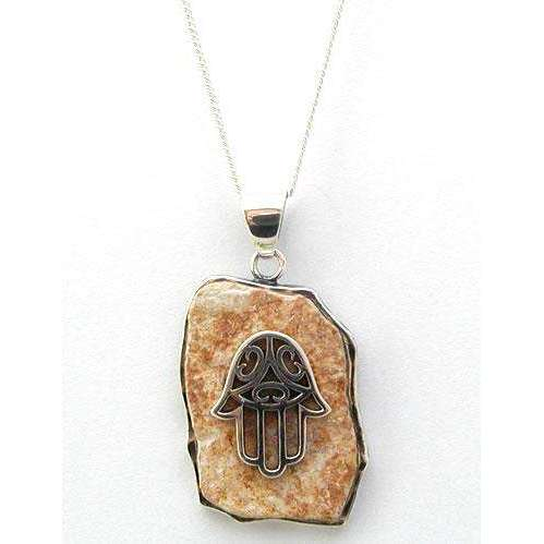 Jerusalem Stone Hamsa Necklace