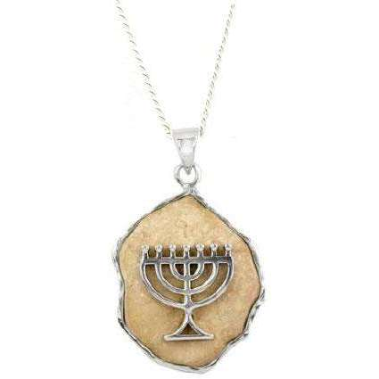 Jerusalem Stone Menorah Necklace