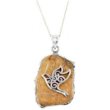 Jerusalem Stone Peace Dove Necklace