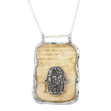 Jerusalem Stone Rectangle Hamsa Necklace