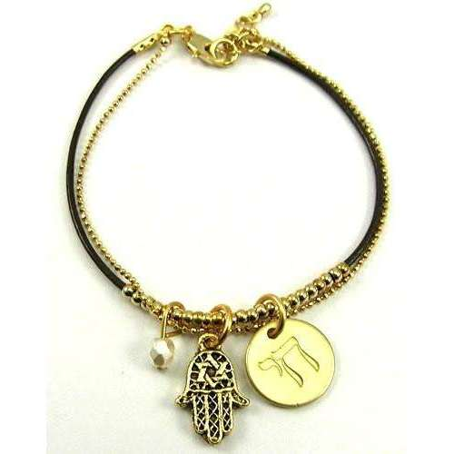 Jillery Gold and Leather Beaded Bracelet with Hamsa and Chai