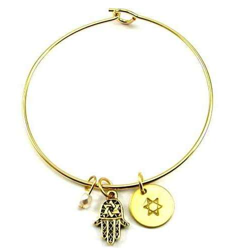Jillery Gold Bangle Bracelet With Hamsa and Star of David