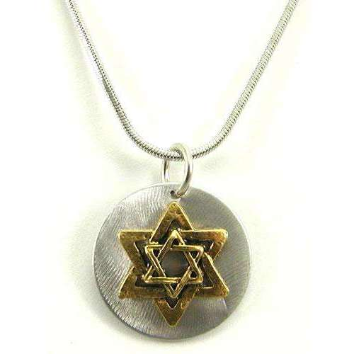 Jillery Gold Star of David on Silver Disk