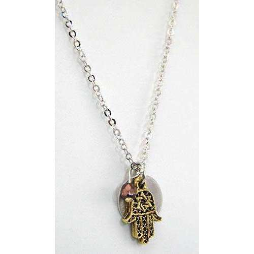 Jillery Hamsa and Disk Necklace