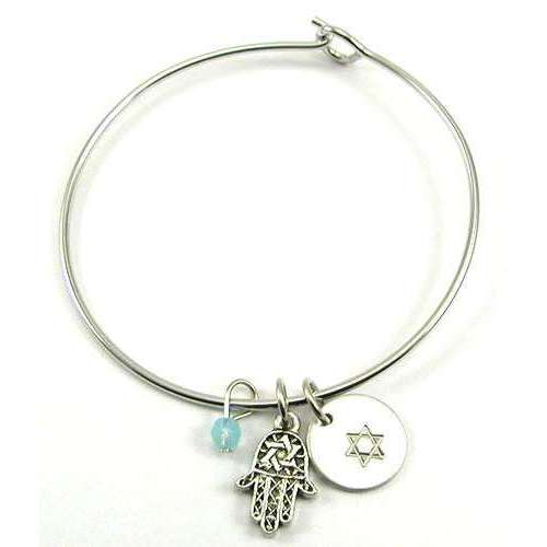 Jillery Silver Bangle Bracelet With Hamsa and Star of David