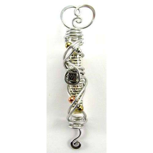 Jillery Wire Wrapped Heart Mezuzah With Metallic Beads