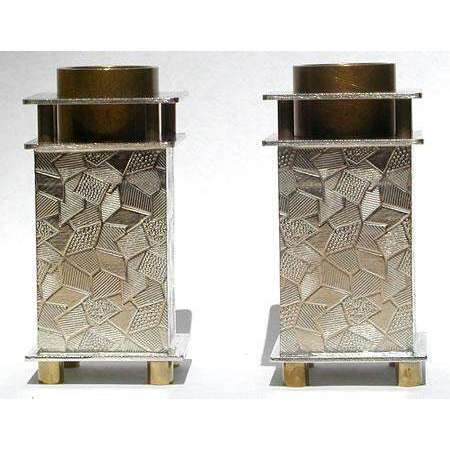 Joy Stember Pewter and Brass Shabbat Candlesticks with Patchwork Texture