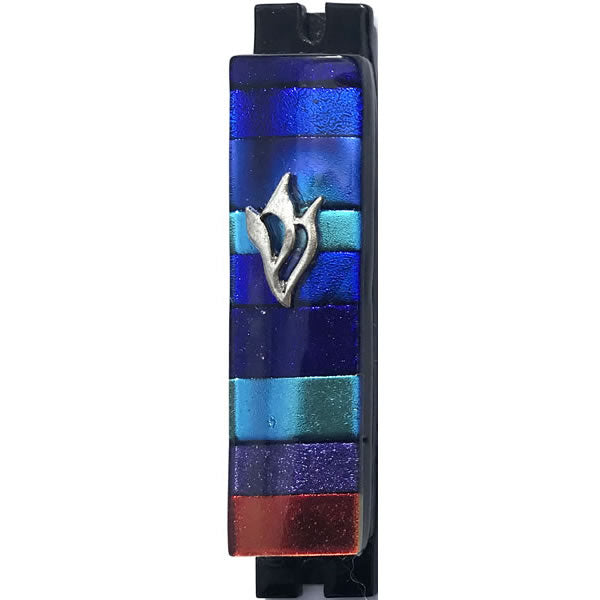 Daryl Cohen Glass Design Blue, Aqua, Purple, Red Mezuzah