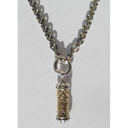 Michael Bromberg Men's Mezuzah Pendant Necklace in Silver and 14K Gold with Ring