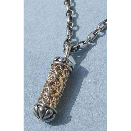 Michael Bromberg Men's Mezuzah Pendant Necklace in Sterling Silver and 14K Gold