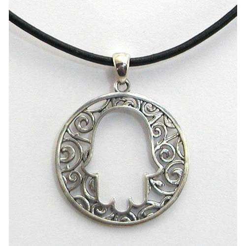 Michael Bromberg Pretty Hamsa With Swirls of Silver on Leather Cord