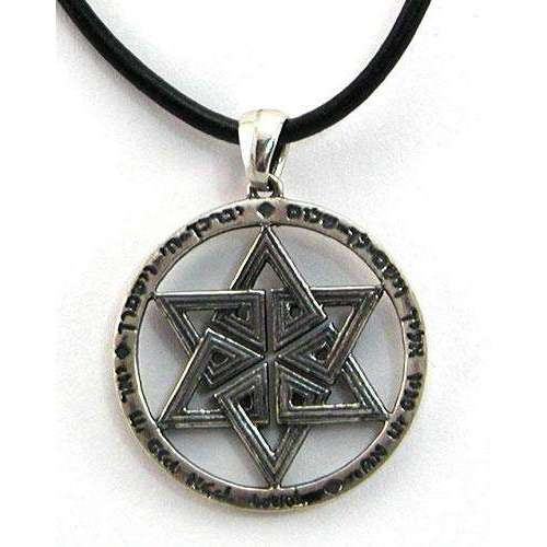 Michael Bromberg Priestly Blessing Star of David Necklace on Leather Cord