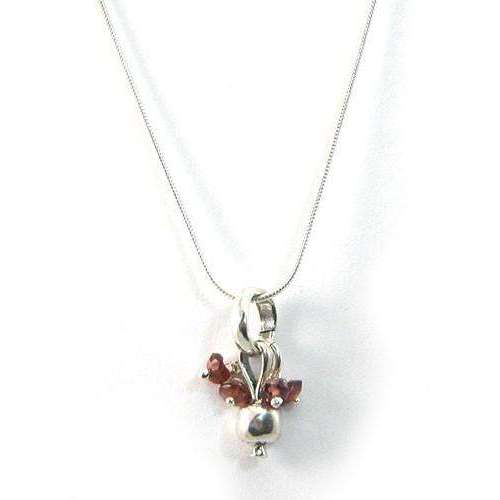 Michael Bromberg Sterling Silver and Garnet Pomegranate Necklace