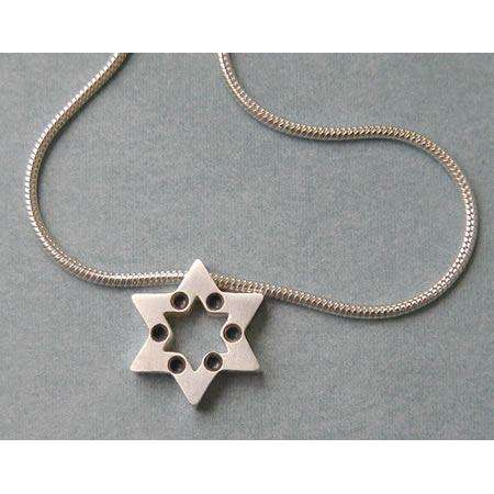 Michael Bromberg Sterling Silver Jewish Star Necklace