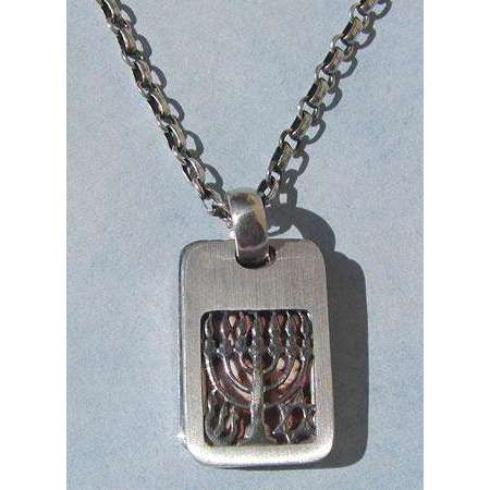 Michael Bromberg Sterling Silver Menorah and Photo Tag Necklace