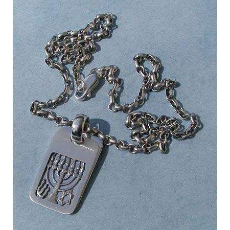 Michael Bromberg Sterling Silver Menorah Tag Necklace