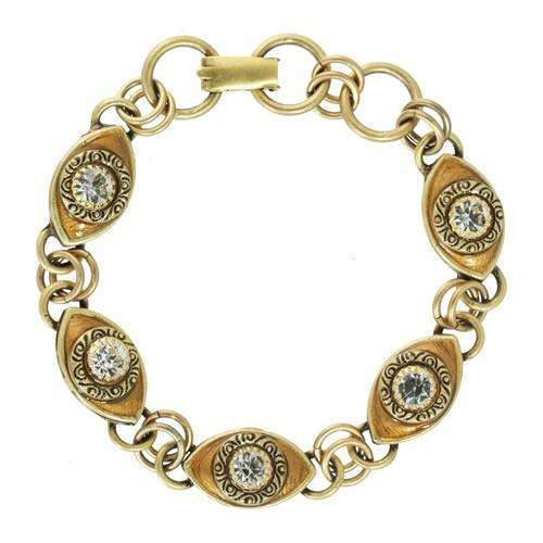 Michal Golan 5 Eye Gold and Crystal Evil Eye Bracelet