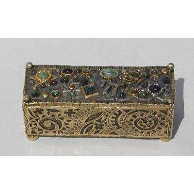 Michal Golan Abalone, African Turquoise, Aventurine, Iolite Decorative Box