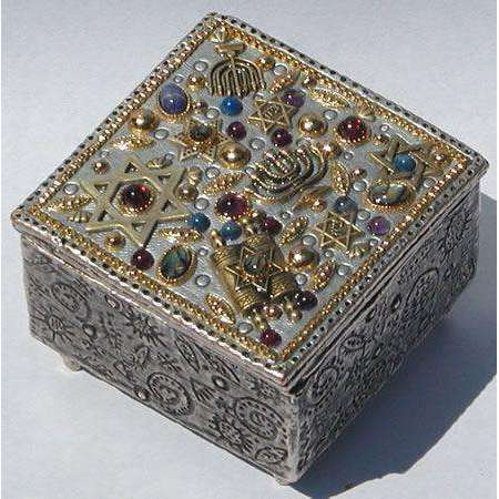 Michal Golan Abalone, Amethyst, Garnet Decorative Box
