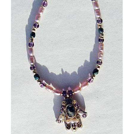 Michal Golan Abalone and Amethyst Hamsa Necklace