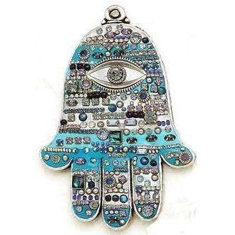 Michal Golan Abalone and Swarovski Crystal Wall Hamsa