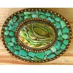 Michal Golan Abalone and Turquoise Belt Buckle