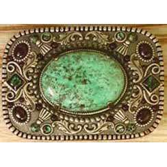 Michal Golan African Turquoise, Abalone and Garnet Belt Buckle