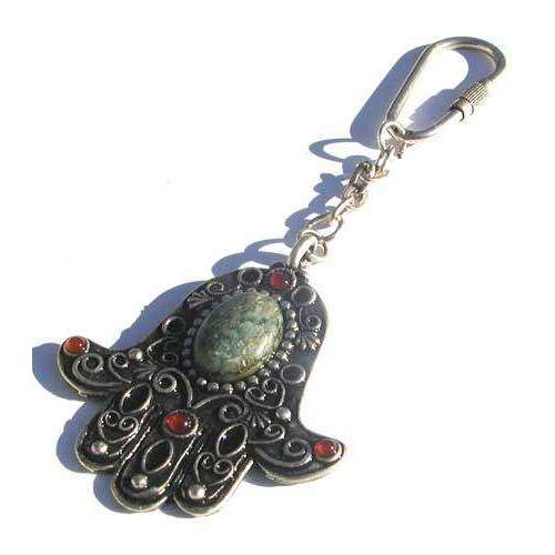 Michal Golan African Turquoise and Garnet Hamsa Keychain