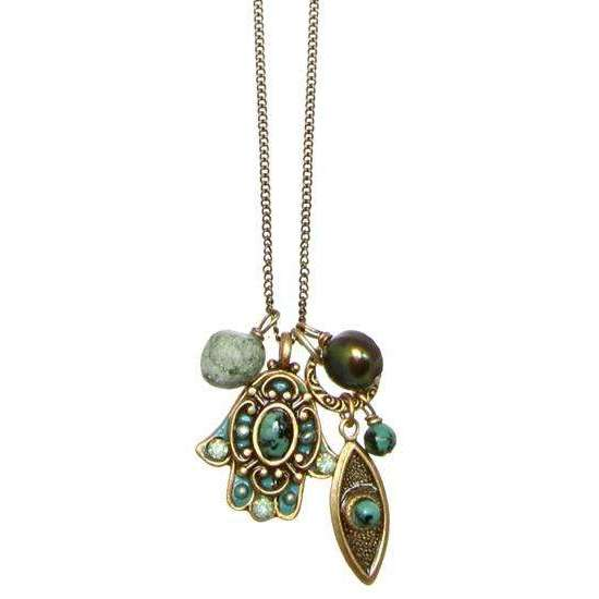 Michal Golan African Turquoise Hamsa and Evil Eye Cluster Charm Necklace