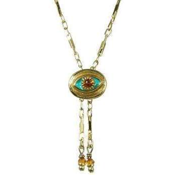 Michal Golan Amber, Teal and Gold Evil Eye Oval Pendant with Drop Beads