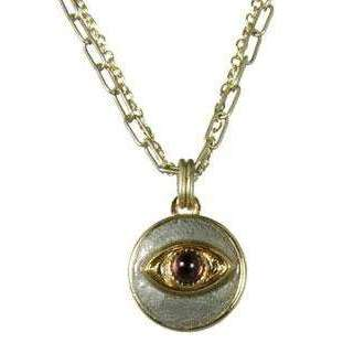 Michal Golan Amethyst, Gold and Silver Evil Eye Round Pendant Necklace