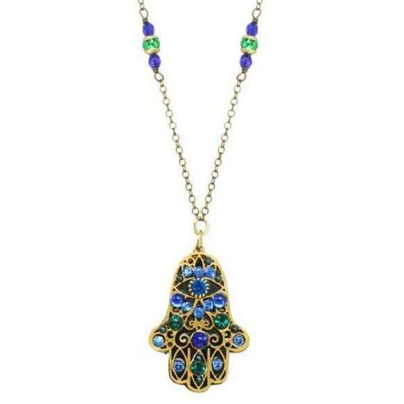 Michal Golan Black and Blue Hamsa Necklace with Green Crystals