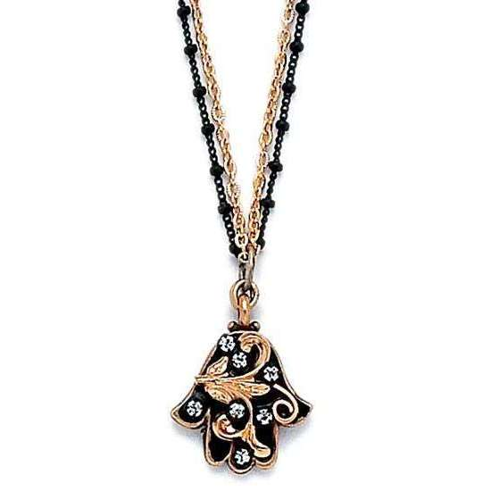 Michal Golan Black and Gold Double Chain Hamsa Necklace