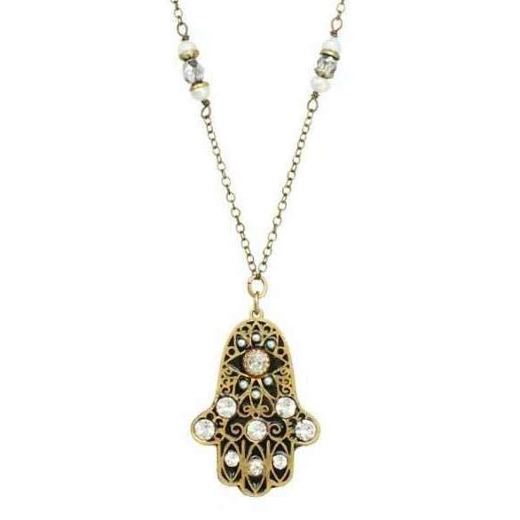 Michal Golan Black and Gold Hamsa Necklace