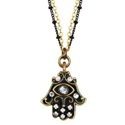 Michal Golan Black and Gold Hamsa Necklace with Evil Eye with Silver Crystals