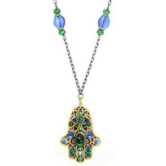 Michal Golan Black and Green Hamsa Necklace with Blue Crystals