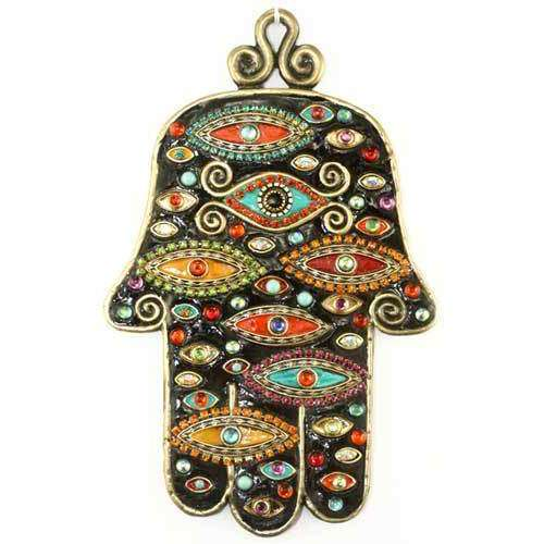 Michal Golan Black and Multi Color Evil Eye Wall Hamsa